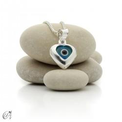 Evil Eye silver pendant - heart