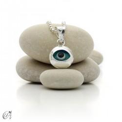 Evil Eye silver pendant - round