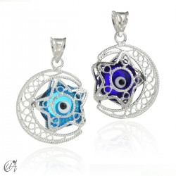 Moon and star with evil eye - Silver filigree