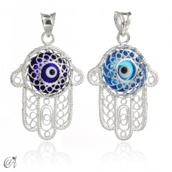 Fatima hand in silver with Evil Eye