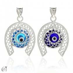 Horseshoe in silver with Evil Eye