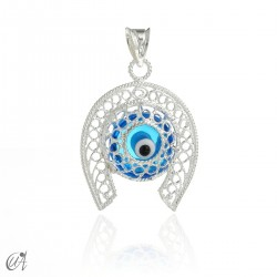 Horseshoe in silver with Evil Eye - blue