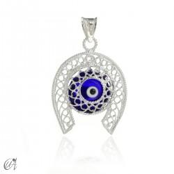 Horseshoe in silver with Evil Eye - dark blue