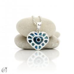 Colgante corazón de plata 925 con ojo turco