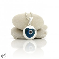 Turkish evil eye in dragee, pendant in 925 silver -  heart