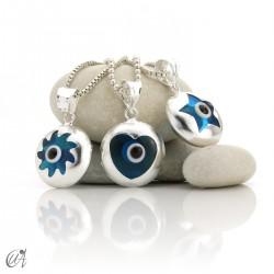Turkish evil eye in dragee, pendant in 925 silver