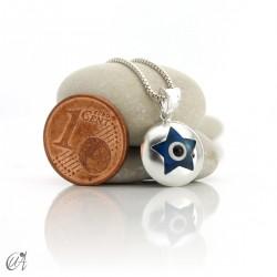 Turkish evil eye in dragee, pendant in 925 silver -  star