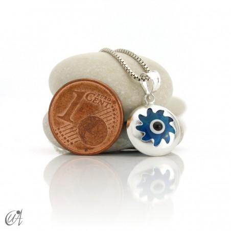 Turkish evil eye in dragee, pendant in 925 silver -  sun