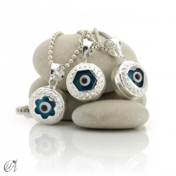 Turkish evil eye wrapped in sterling silver, pendant