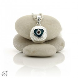 Turkish evil eye wrapped in sterling silver, pendant  - heart.
