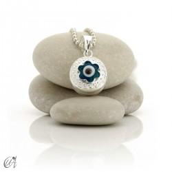 Turkish evil eye wrapped in sterling silver, pendant  - flower.