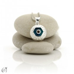Turkish evil eye wrapped in sterling silver, pendant  - hexagon.