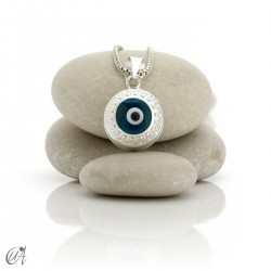 Turkish evil eye wrapped in sterling silver, pendant - obverse