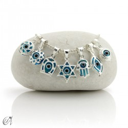 Turkish evil eye charm made of glass and 925 silver