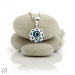 Turkish evil eye charm made of glass and 925 silver - flower
