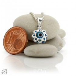 Dije ojo turco de vidrio y plata 925 - flor