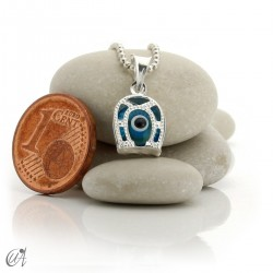 Turkish evil eye charm made of glass and 925 silver - horseshoe