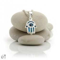 Dije ojo turco de vidrio y plata 925 - mano de Fátima