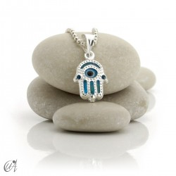Turkish evil eye charm made of glass and 925 silver - hand of Fatima