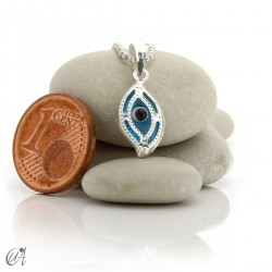 Turkish evil eye charm made of glass and 925 silver - marquise