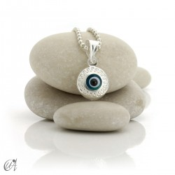 Turkish evil eye charm made of glass and 925 silver - closed round
