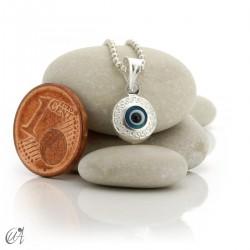 Dije ojo turco de vidrio y plata 925 - redondo cerrado