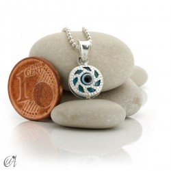Turkish evil eye charm made of glass and 925 silver - round