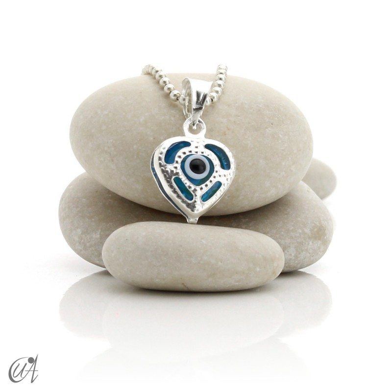 Turkish evil eye charm made of glass and 925 silver - heart