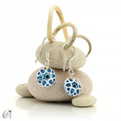 Turkish evil eye in sterling silver, lattice model earrings