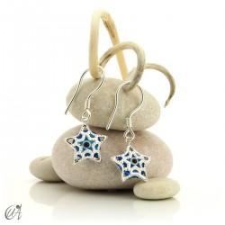 Star with Turkish eye, earrings in 925 silver