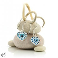 Heart model earrings with Turkish eye, 925 silver