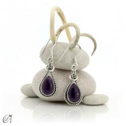 Linked drop earrings in silver and amethyst