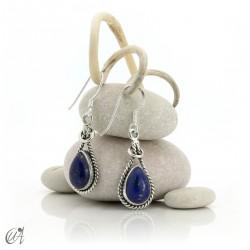 Linked drop earrings in silver and lapislazuli