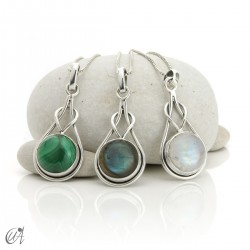Elo model pendant in sterling silver and natural gems