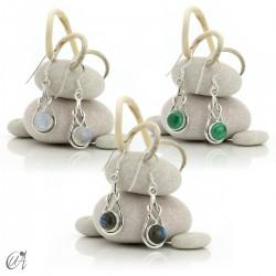 Elo model earrings, silver and gems