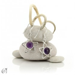 Silver earrings with amethyst, star format