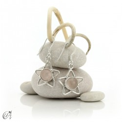 Silver earrings with rose quartz, star format