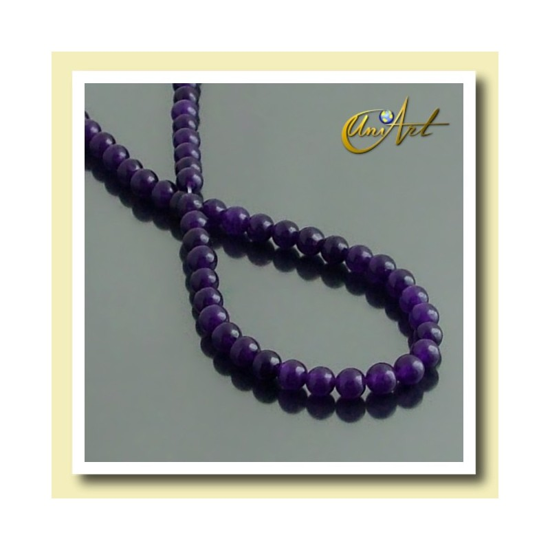 4 mm round beads of Lilac Jade.