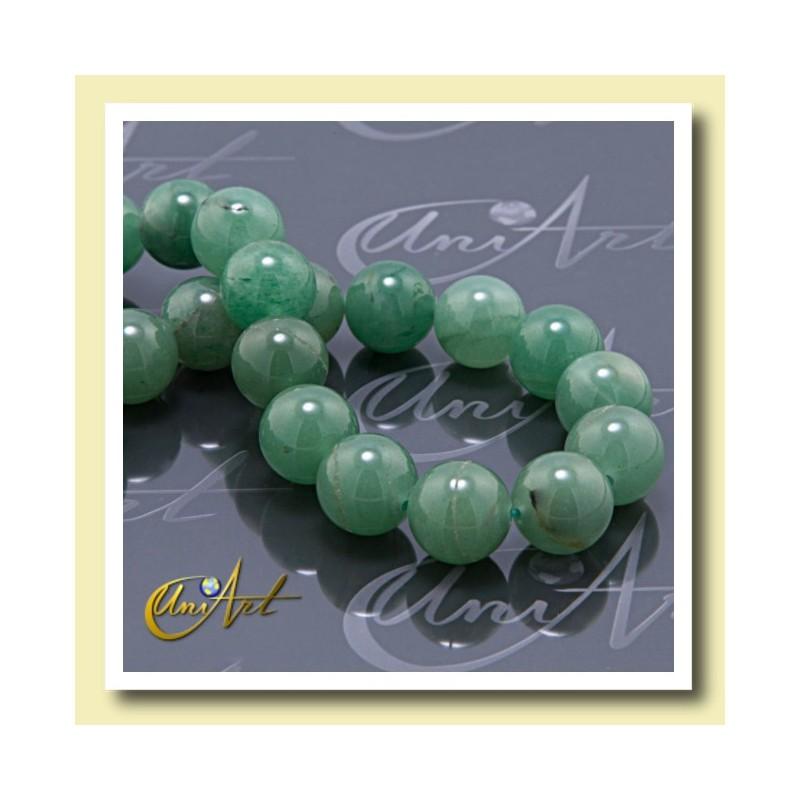 green aventurine, beads 14 mm