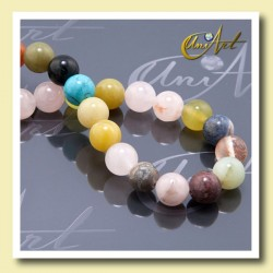 10 mm beads of various semi-precious stones