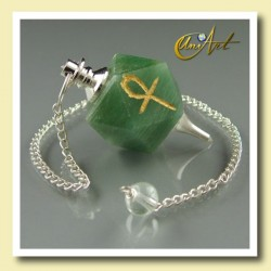 Pendulum of Green Aventurine with Ankh (Egyptian Cross) - polyhedron