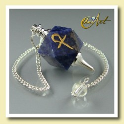 Pendulum of Sodalite with Ankh (Egyptian Cross)