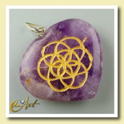 Heart with the Life Seed engraved - amethyst