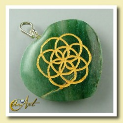 Heart with the Life Seed engraved - green aventurine