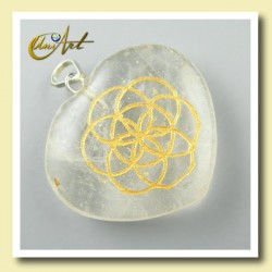 Heart with the Life Seed engraved - crystal quartz