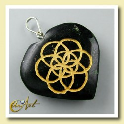 Heart with the Life Seed engraved - black tourmaline
