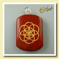 Seed of Life engraved pendant - red jasper