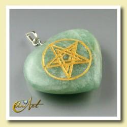 Corazón con Pentagrama grabado en aventurina verde