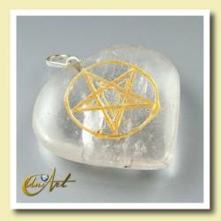 Corazón con Pentagrama grabado en cuarzo cristal
