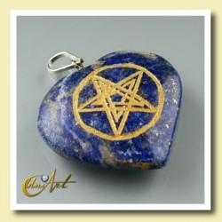 Corazón con Pentagrama grabado en lapizlázuli